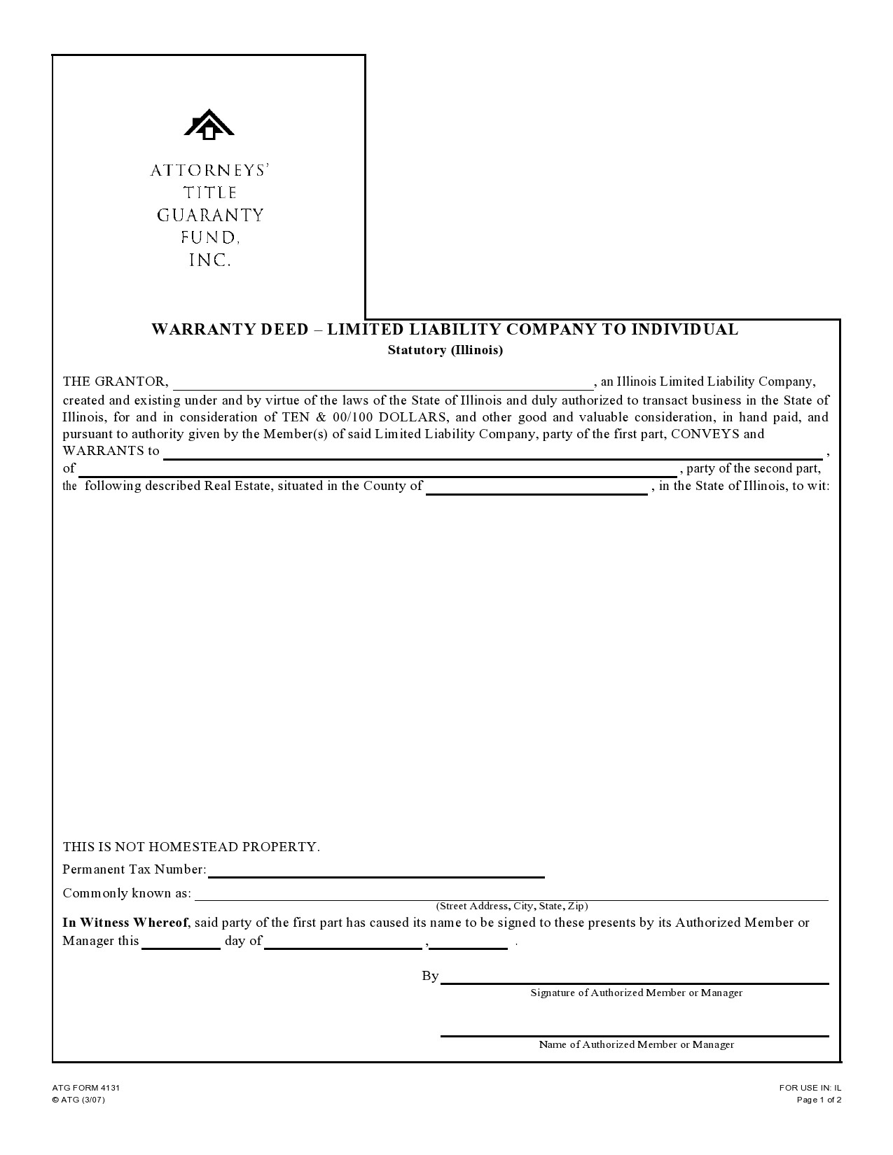 Free warranty deed form 30