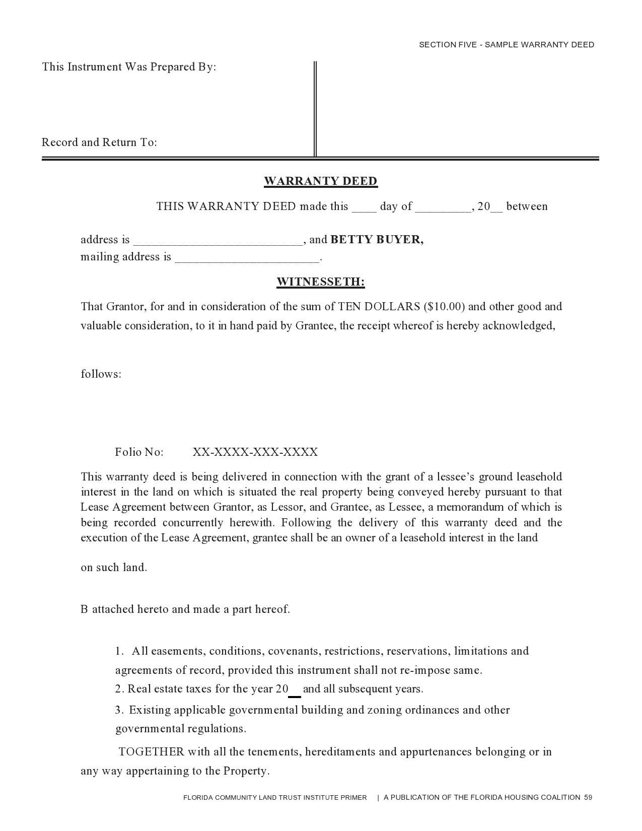 Free warranty deed form 35