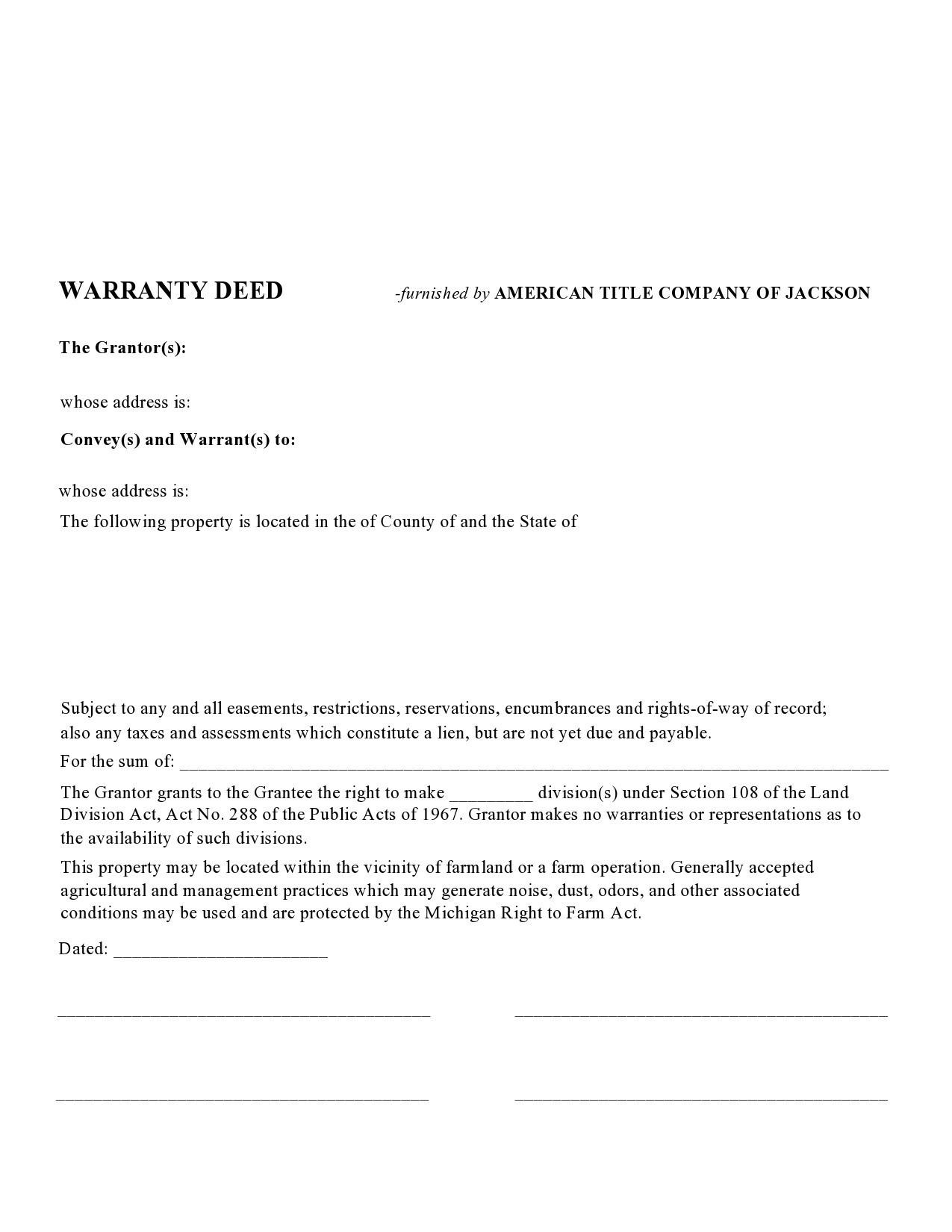 Free warranty deed form 36