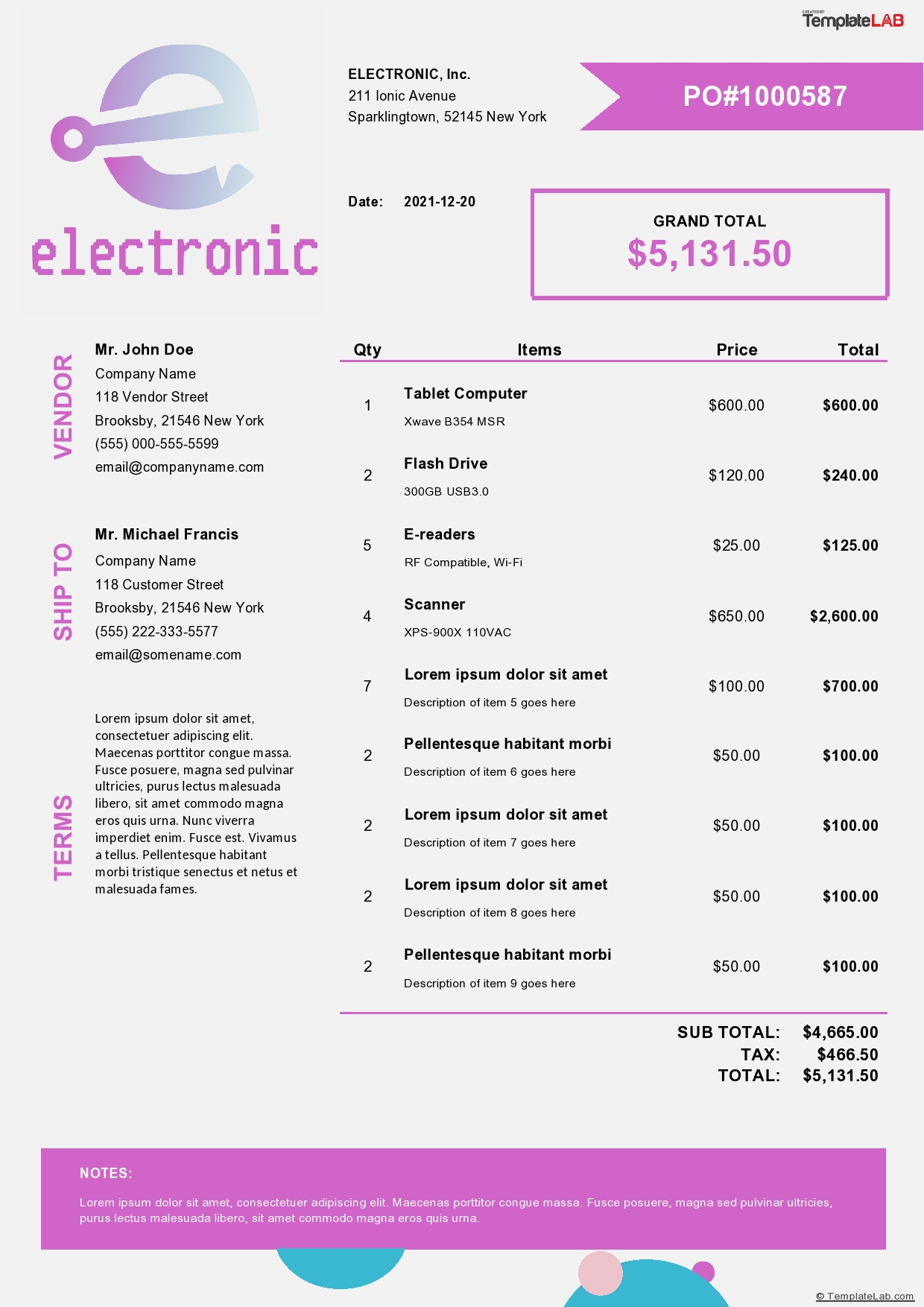 Free Electronic Purchase Order Template