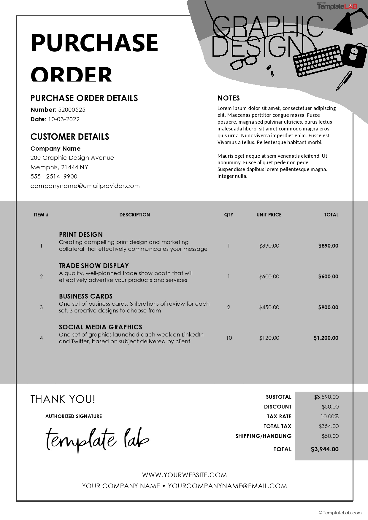 Free Graphic Design Purchase Order Template