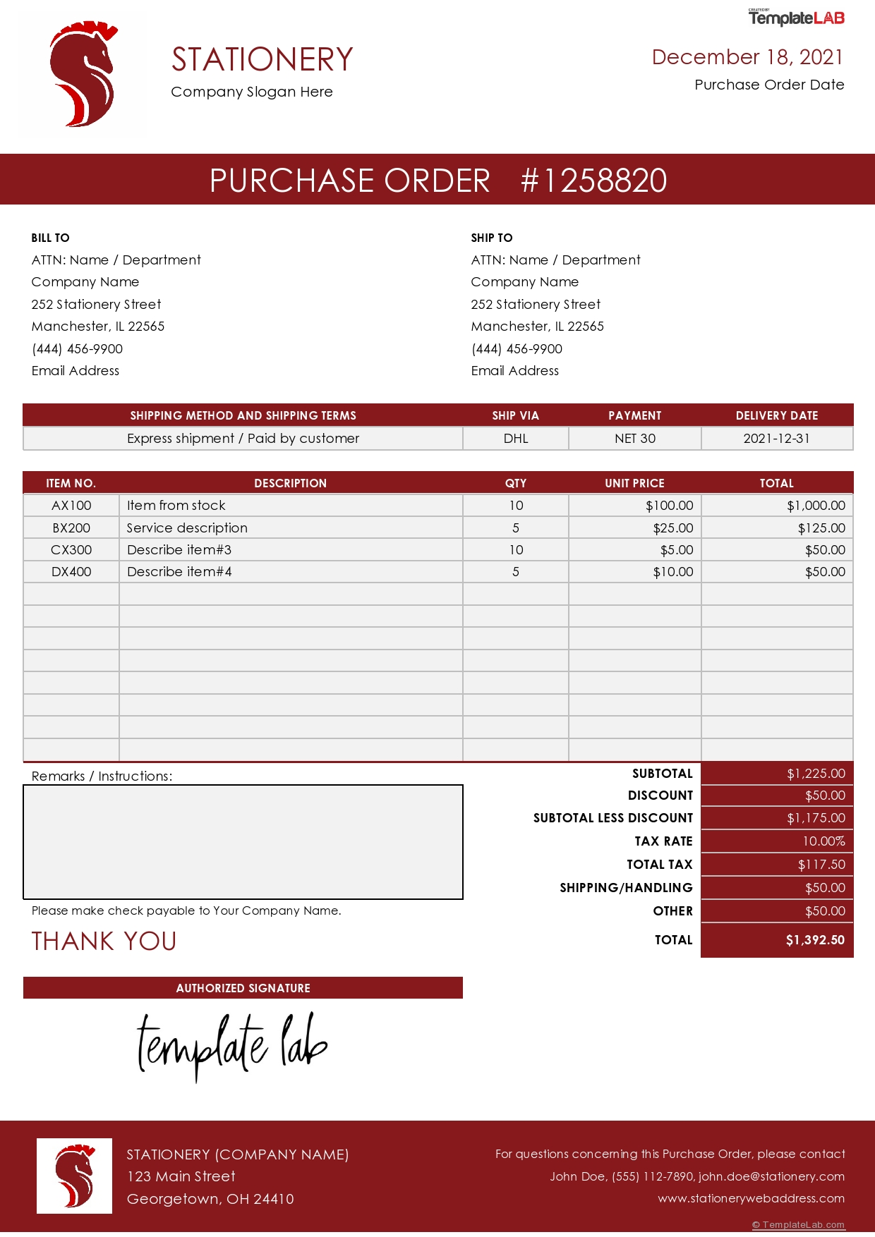 Free Stationery Purchase Order Template