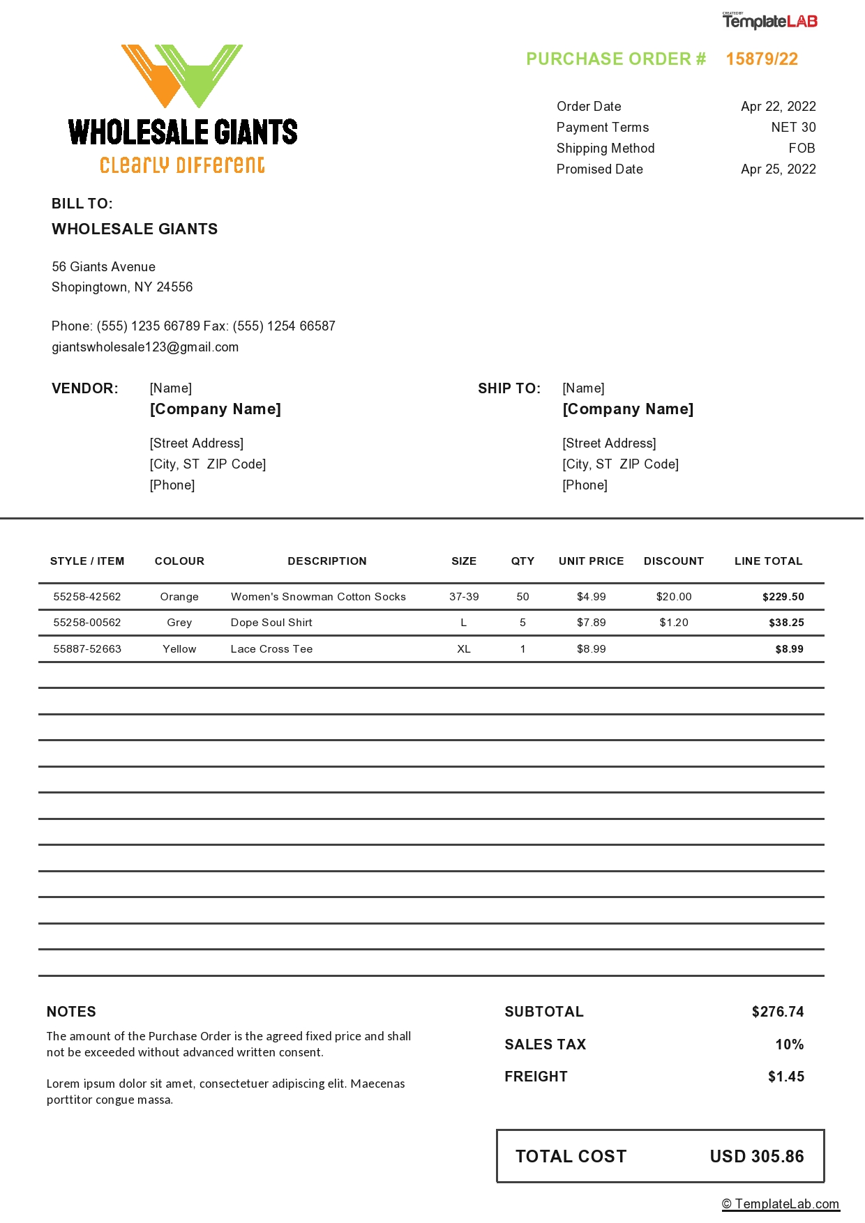 Free Wholesale Purchase Order Template