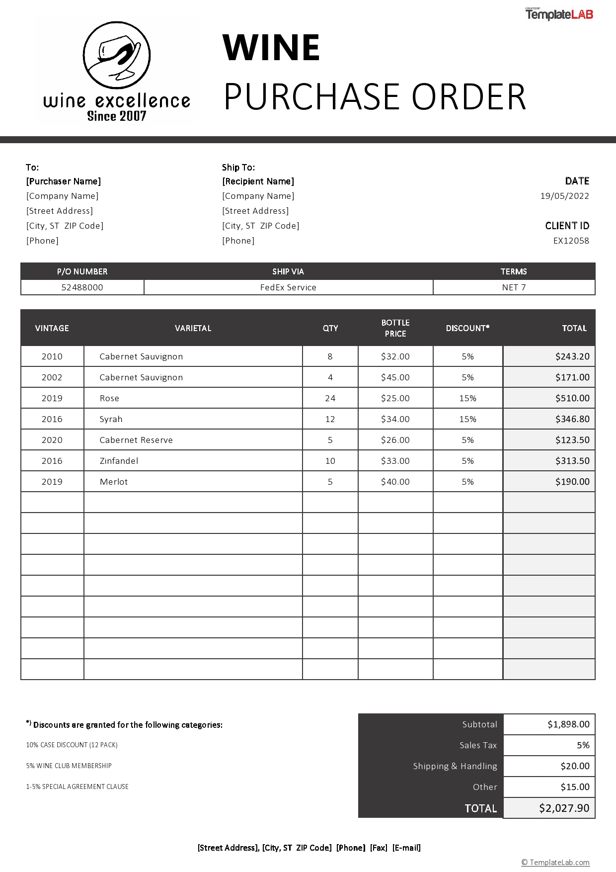 Free Wine Purchase Order Template